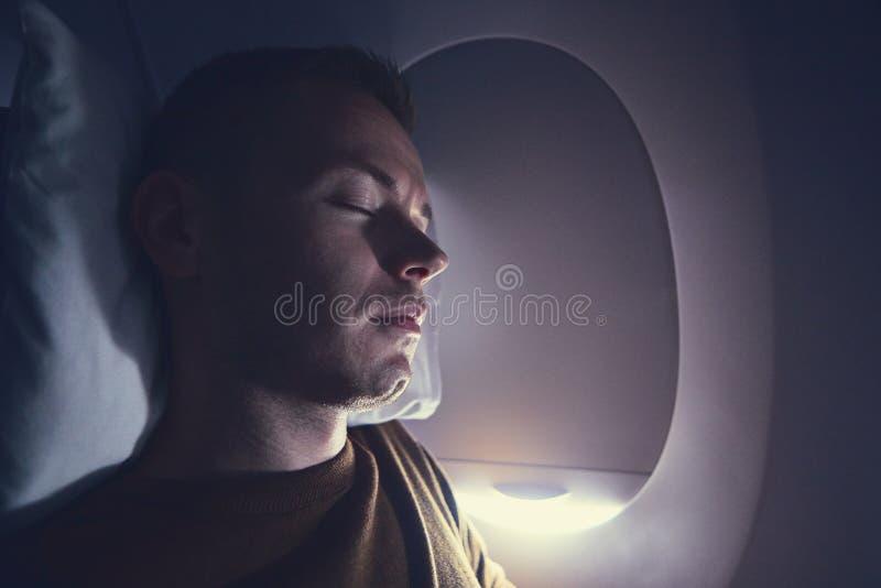 在飞行期间的睡眠 库存图片