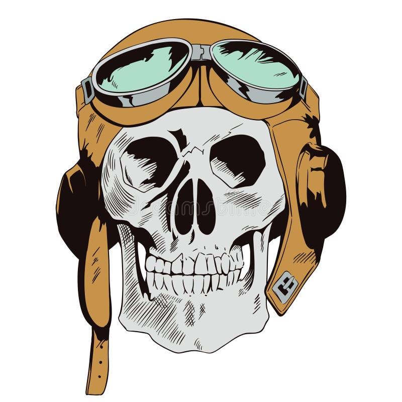 在飞行盔甲的头骨 在减速火箭的样式的例证 库存例证