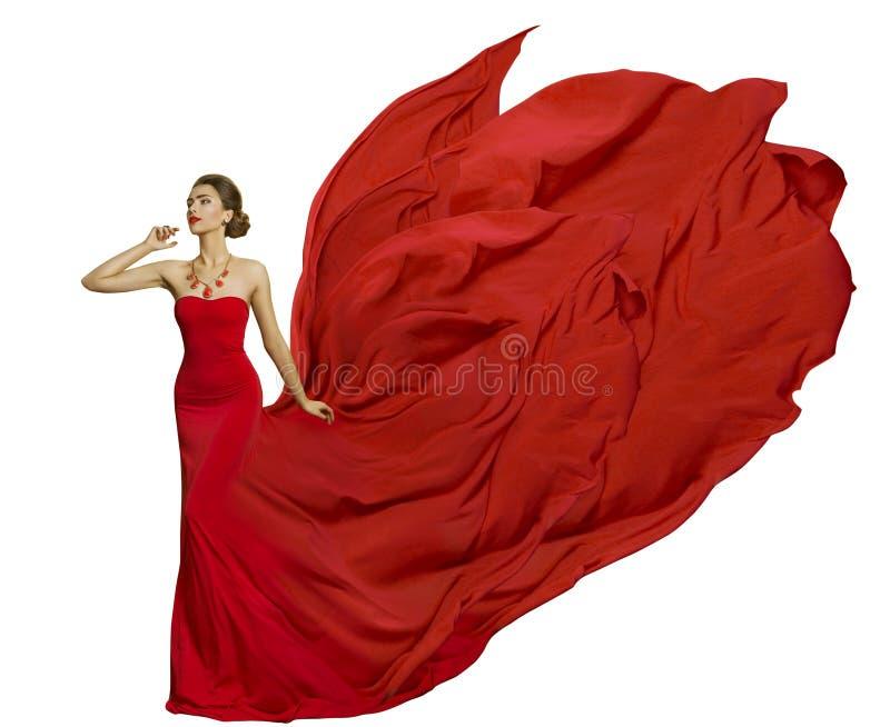 在飞行礼服织品,妇女秀丽振翼的布料的时装模特儿 免版税图库摄影