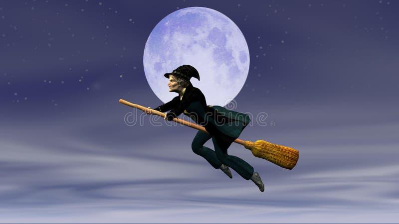 在飞行笤帚的Befana在满月的背景 皇族释放例证