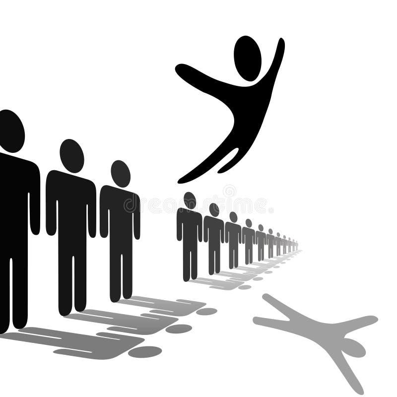 在飞跃之上排行人员腾飞符号的人 库存例证