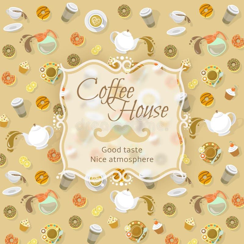 在食物和饮料背景的咖啡店标签 向量例证