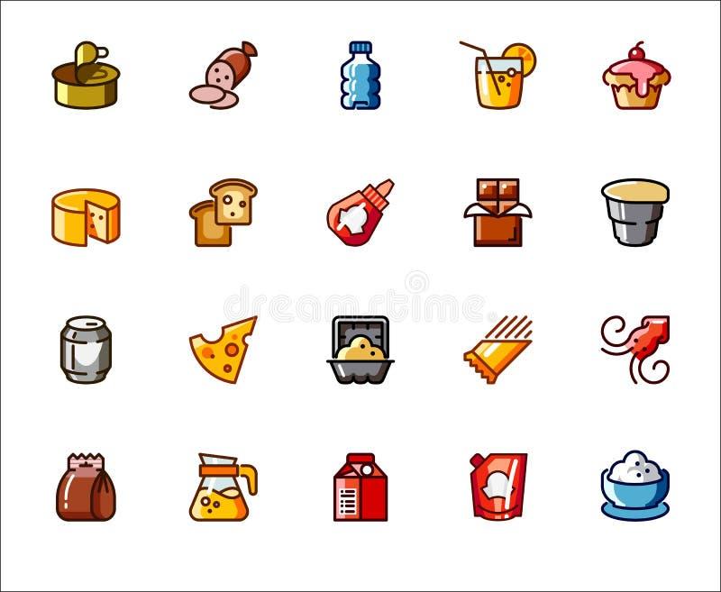 在食物和饮料题材的象 超级市场的,市场,商店标签 在烹饪和烹饪系列的图表 皇族释放例证