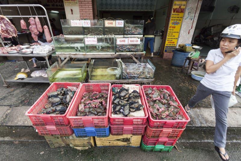 在食物市场西贡上在越南 免版税库存照片