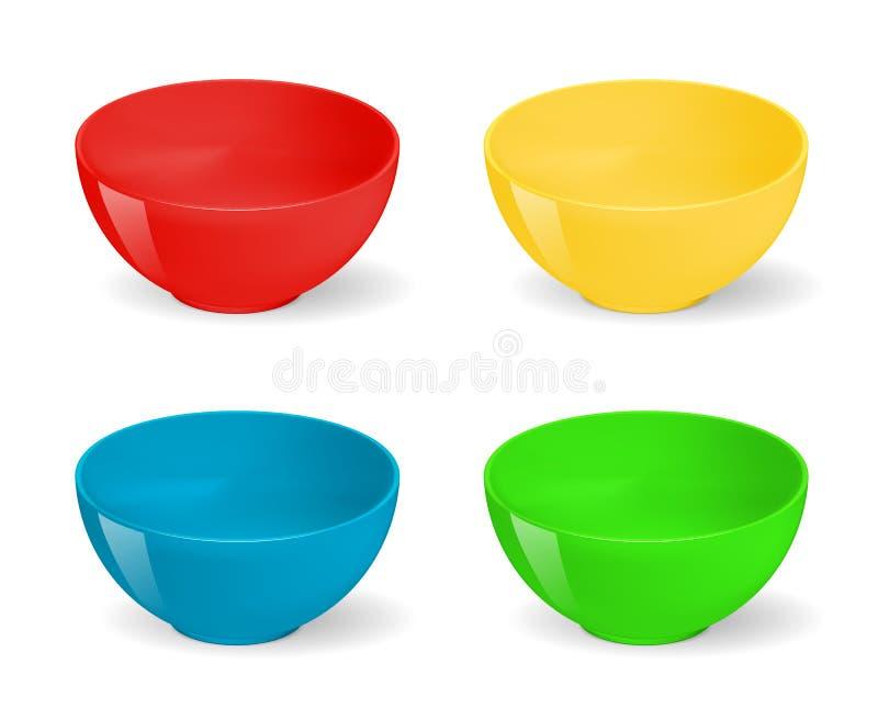 在食物碗的空的现实例证 陶瓷厨房餐具集合 食物的,空陶瓷的餐具碗 库存例证
