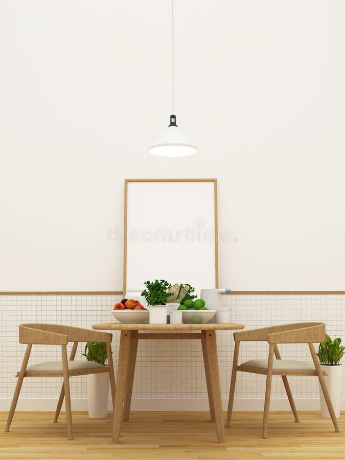 在餐具室区域和饭厅设置的厨房- 3d翻译 库存例证