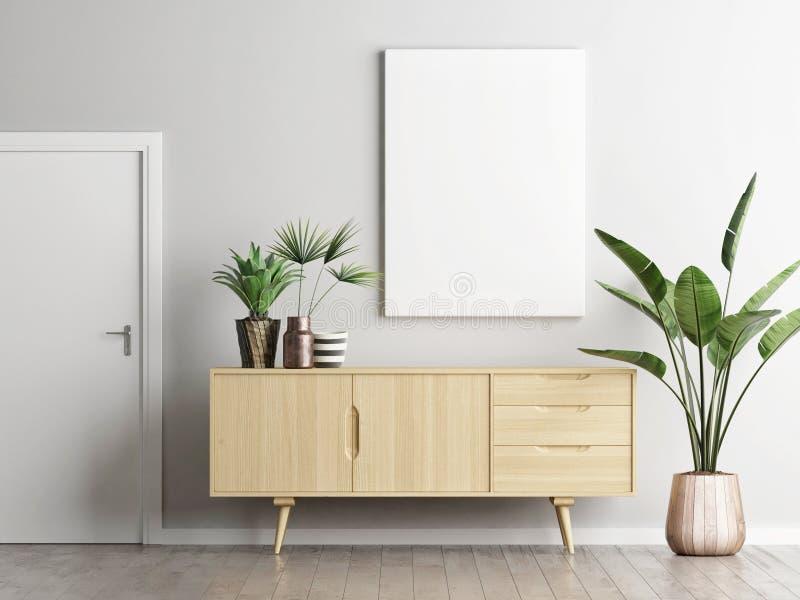 在餐具柜上的海报在有植物的客厅 库存例证