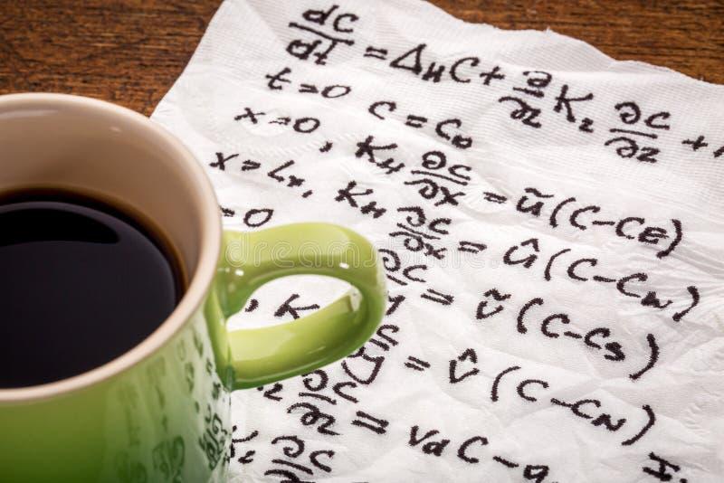 在餐巾的数学等式 免版税图库摄影