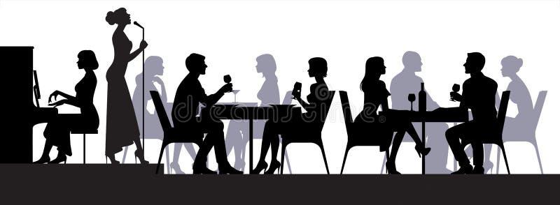 在餐馆人民的场面坐在桌上,并且在阶段执行歌手 皇族释放例证