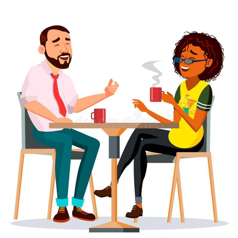 在餐馆传染媒介的夫妇 男人和妇女 一起坐和饮用的咖啡 生活方式 被隔绝的动画片 向量例证