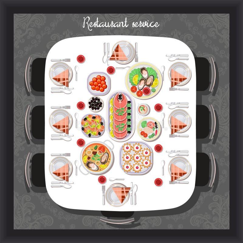在餐馆冲击饭食供应欢迎客人 向量例证