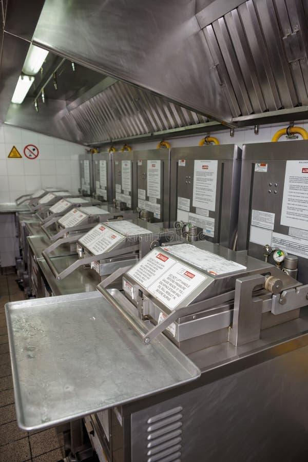 在餐馆厨房的深炸锅 免版税图库摄影
