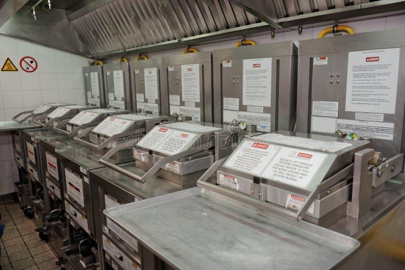 在餐馆厨房的深炸锅 免版税库存照片