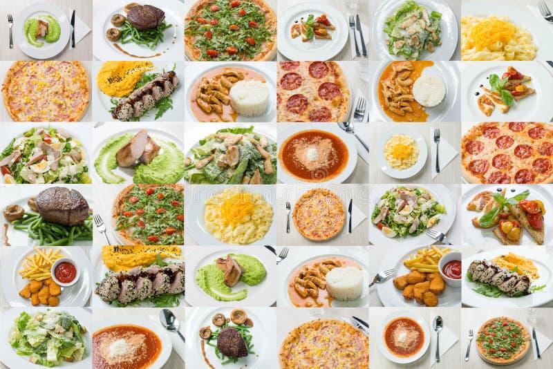 在餐馆服务的食物的混合 库存照片