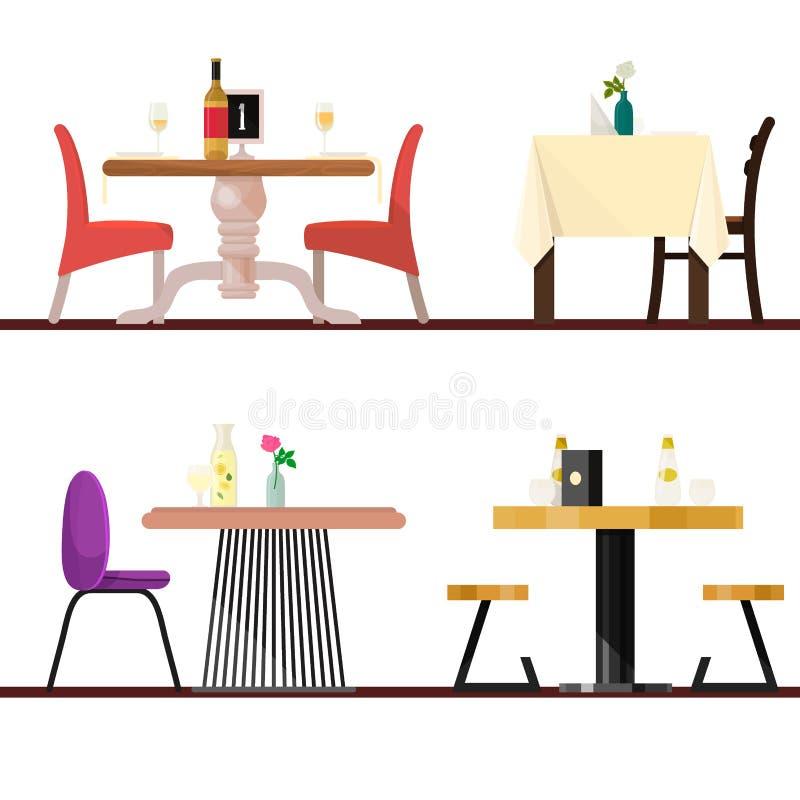 在餐馆设置的咖啡馆桌为浪漫午餐晚餐日期导航用餐家具桌和椅子在自助食堂 皇族释放例证