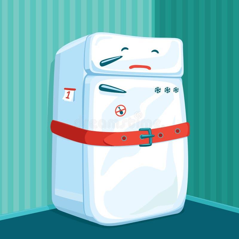 在饮食佩带的传送带的冰箱 库存例证