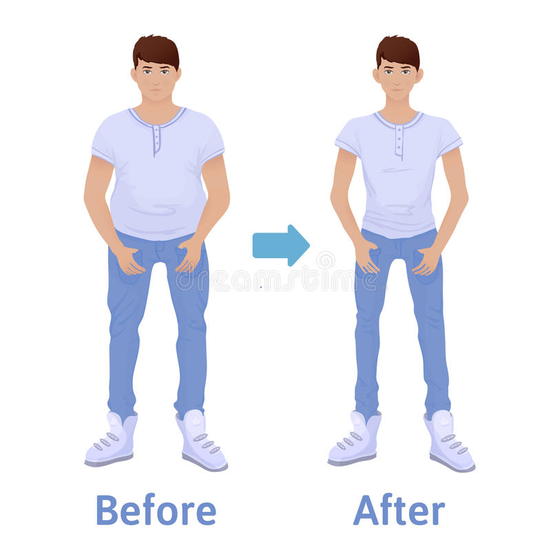 在饮食和健身前后的年轻人 查出的损失评定躯干重量白人妇女 肥胖和稀薄的人,身体变革 也corel凹道例证向量 向量例证