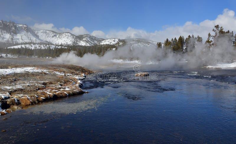 在饼干水池附近的Firehole河 库存图片