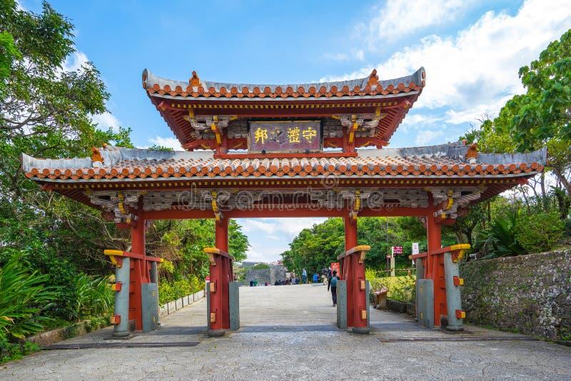 在首里城堡的Shureimon门在冲绳岛,那霸,日本 库存照片