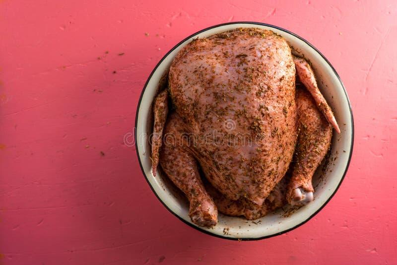 在香料的大火鸡在一个桃红色背景自由空间的一个碗 库存图片