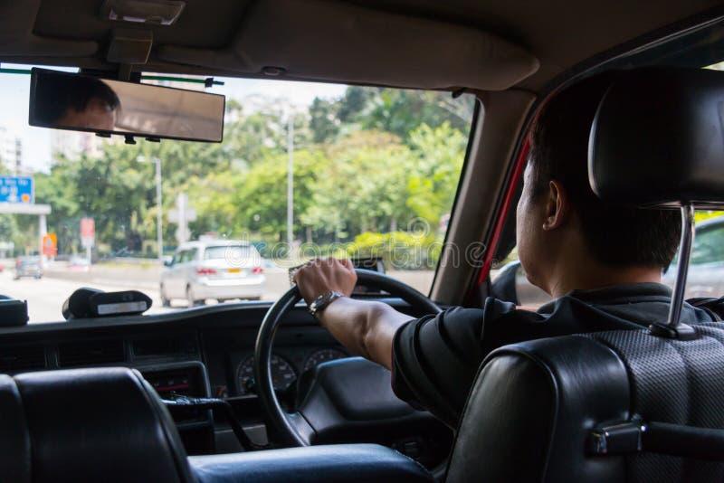 在香港出租汽车里面 免版税库存图片