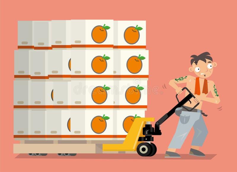 在香港导航水果市场搬运工的例证 皇族释放例证