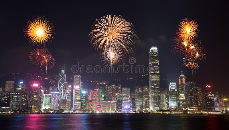 在香港市的烟花节日 图库摄影
