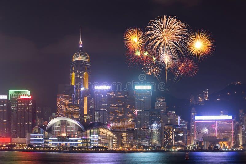在香港市的烟花节日 免版税图库摄影
