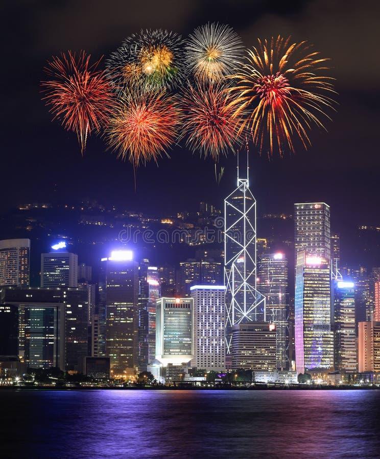 在香港市的烟花节日 免版税库存图片