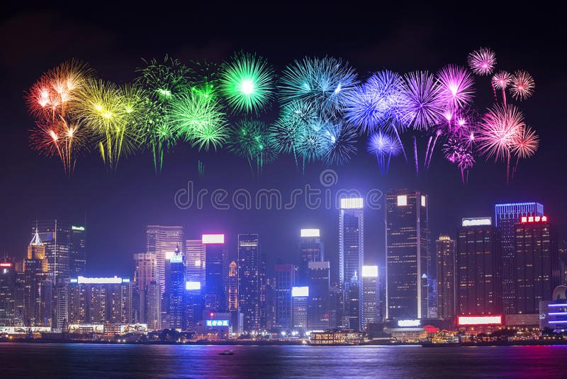 在香港市的烟花节日 免版税库存照片
