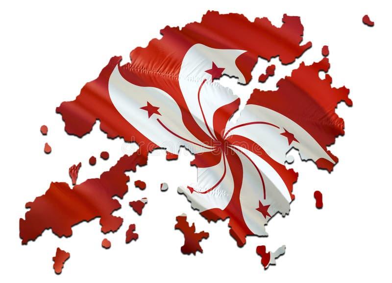 在香港挥动的旗子的地图 回报香港地图和挥动在亚洲地图的3D旗子 香港的国家标志 香港 库存图片