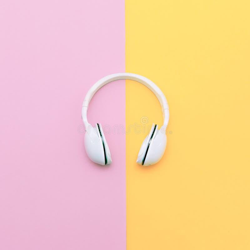 在香草背景的时尚白色耳机 库存照片