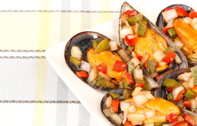 在香醋的淡菜 免版税库存图片