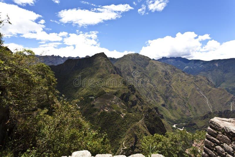 在马丘比丘的看法从Huayna Picchu在秘鲁-南美 库存图片