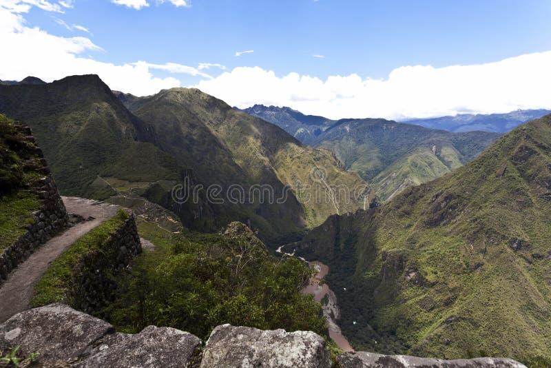 在马丘比丘的看法从Huayna Picchu在秘鲁-南美 图库摄影