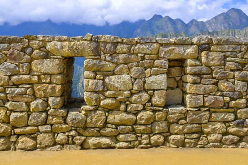 在马丘比丘的石墙 库存图片