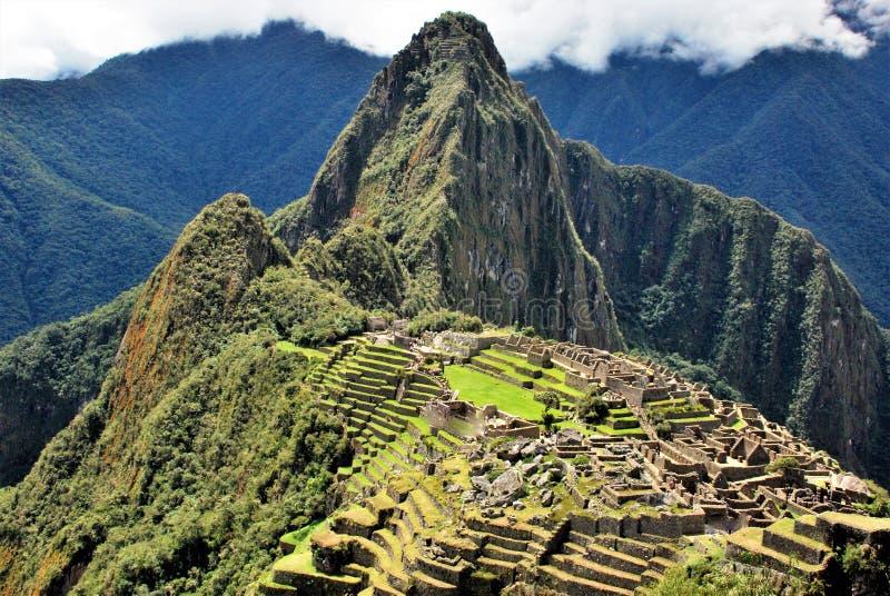 在马丘比丘的风景在秘鲁, 免版税图库摄影