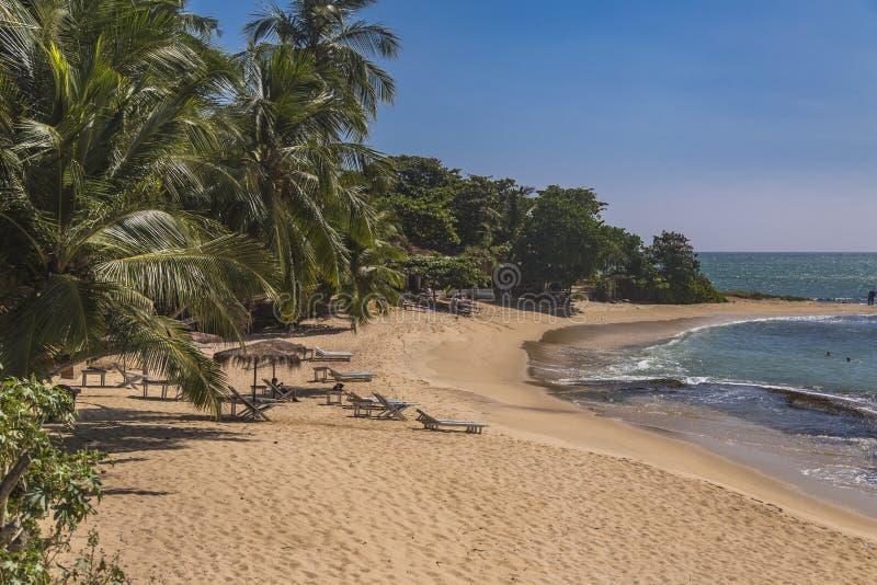 在马塔勒,斯里兰卡的海滩 免版税库存照片