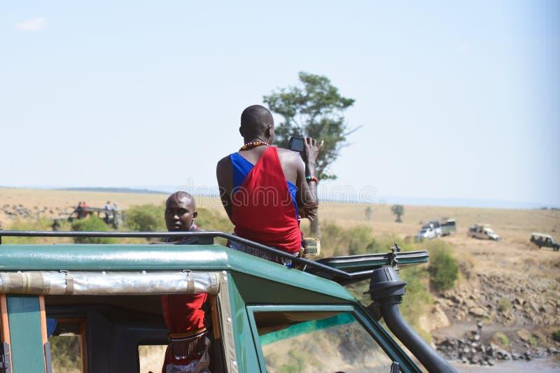在马塞语玛拉的徒步旅行队 免版税库存照片