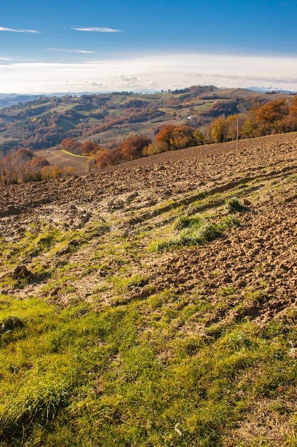 在马尔什` s小山的秋天在Montefeltro地区 库存照片