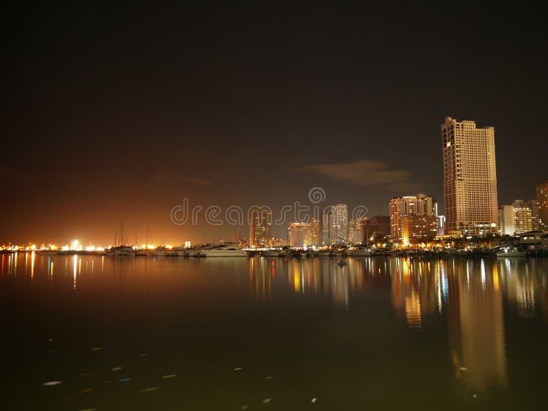 在马尼拉港口正方形的都市风景 库存照片