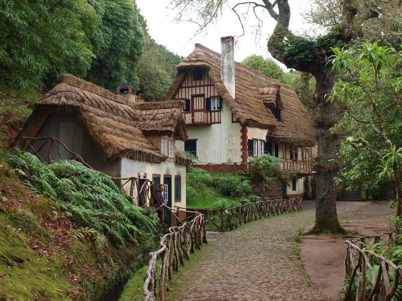 在马德拉岛山的村庄- Queimadas 免版税库存图片