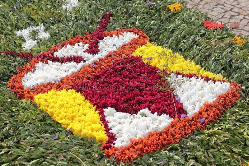 在马德拉岛花节日的花地毯 库存照片