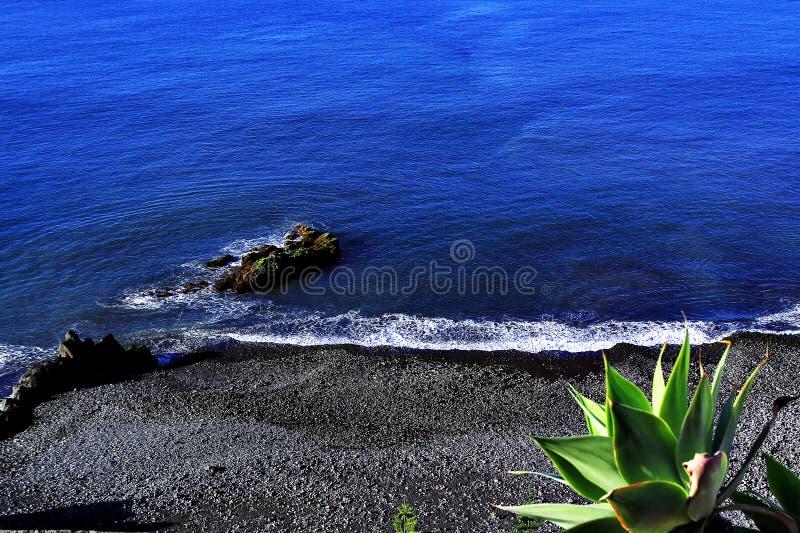 在马德拉岛黑沙滩的美丽的深蓝水 免版税库存照片