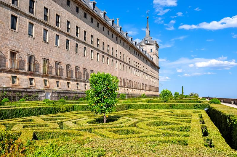 在马德里,西班牙附近的埃斯科里亚尔修道院宫殿 免版税库存图片