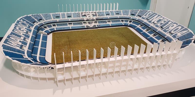 在马拉加里面橄榄球场的神色  库存图片