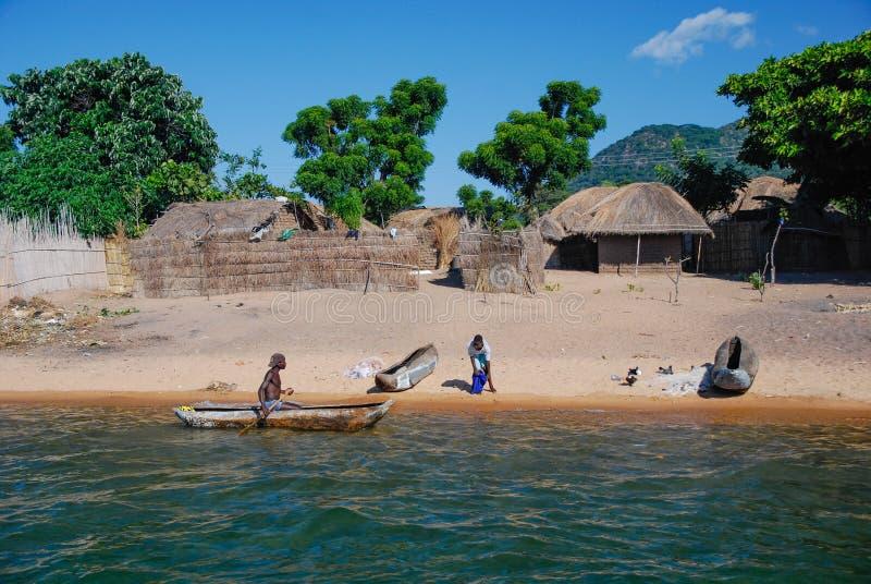 在马拉维湖的农村场面 免版税库存图片