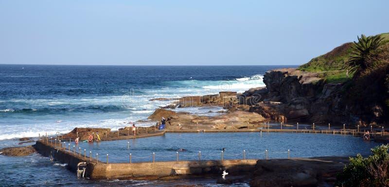 在马拉巴尔海滩的室外游泳池 库存照片