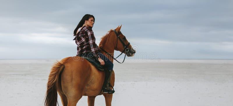 在马的女牛仔骑马在海滩 库存图片