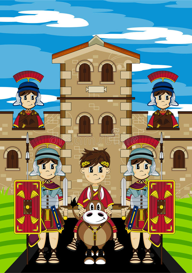 在马的罗马帝国皇帝在堡垒 库存例证